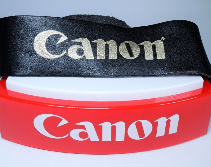 Canon Branded Leather & Metal Camera Strap - Rare Genuine Canon Shoulder and Neck Strap F1, A1, AE1, T70  - Extra Long - Black w/ Gold Logo