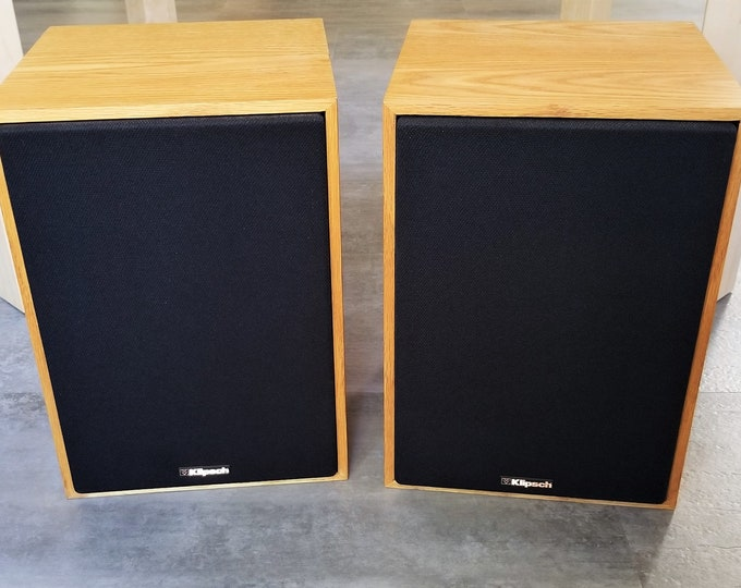 Classic Pair of Klipsch KG 1.2 Theater-Surround Two-Way KG Series Loudspeakers -  Oak Clear Natural Wood Cabinets - One Owner Nice