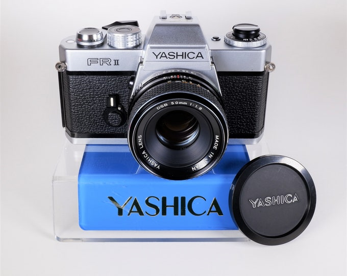 Yashica FR II 35mm SLR Film Camera w/ Contax-Yashica 50mm f1.9 Lens, Yashica Lens Cap, Battery - Excellent Condition - 100% Fully Working
