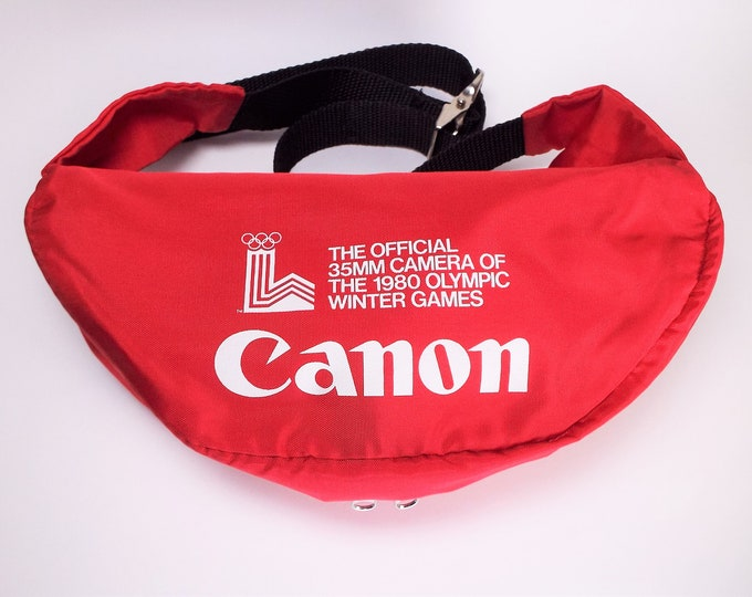 Vintage Canon 1980 Lake Placid Olympics Official 35mm Camera Bag, Fanny Pack - Winter Olympics - Athalon Sports Bag - Photo Gear Pack