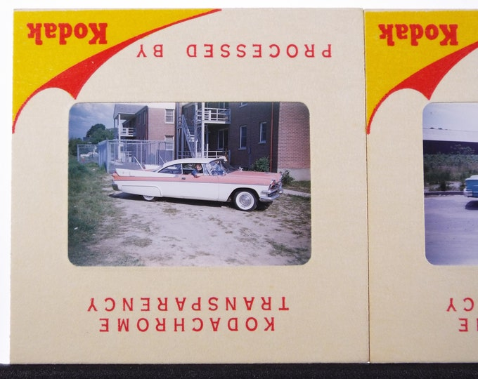 Two Genuine Kodak Kodachrome Color 35mm Slides from the 1950s - 2 Classic Cars