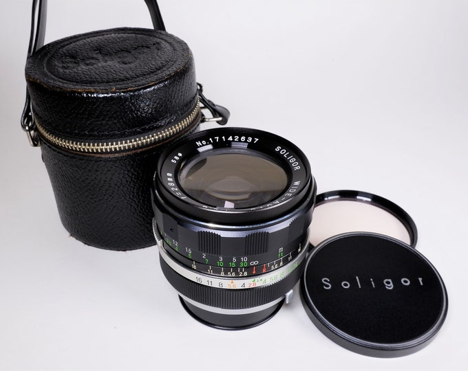 Vintage Soligor-Minolta Wide-Auto 28mm f/2.8 Lens - Minolta Mount 35mm SLR Film Camera - w/Soligor Leather Case, Caps & 58mm Skylight Filter