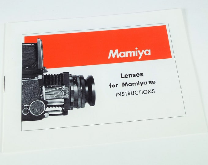 Mamiya RB67 Professional Lenses for Mamiya RB Instruction Book - 14 Pages - English Edition - Mint Condition - Free USA Shipping!