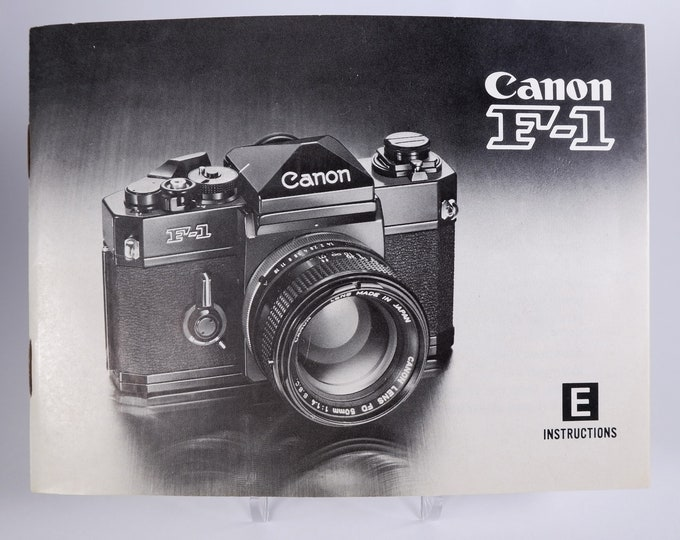 Vintage Canon F-1 35mm SLR Film Camera Instruction Book - 1978 - Nearly Mint New - Perfect Collectible - 59 Pages - English Edition