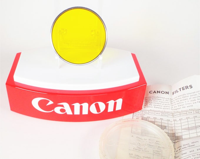 Canon Slim Chrome 58mm Y3 Yellow Screw-in Filter with Original Canon Plastic Case and Instructions - from 1963 - Looks Unused - Free US Ship