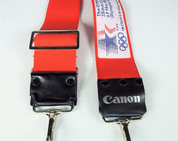 """Rare Canon """"The Official 35mm Camera of the 1984 LA Olympics"""" Adjustable Strap - Nr Mint Condition - Genuine Canon Strap - Red, White & Blue"""