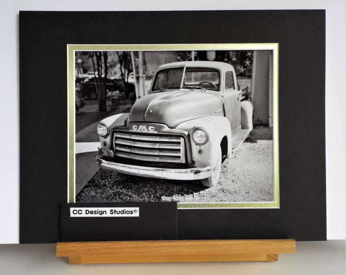 Affordable Fine Art Photography - Titled 'Vintage GMC Truck' in Black & White - 8.5 x 11 inches overall - Matted here to 8 x 10 in.