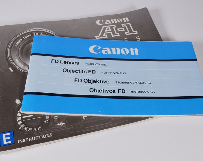Vintage Canon A-1 35mm SLR Camera Instruction Book - 102 Pages - Original - Mint Condition & FD Lenses Inst Book 62 Pages - Mint