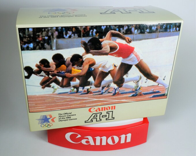 "Rare Canon A-1 ""The Official 35mm Camera of the 1984 LA Olympics"" Original Collectors Box - Near Mint Cond - Complete w/ inserts & bag"
