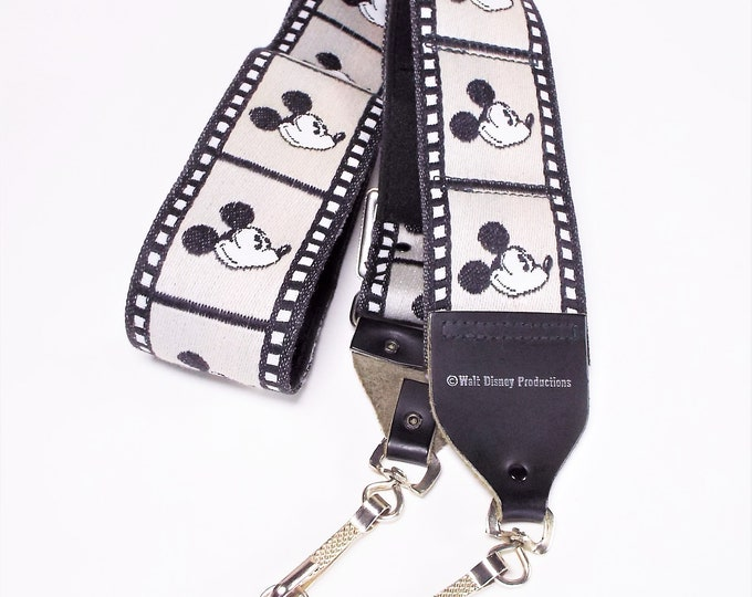 Genuine Bobby Lee Walt Disney Productions Mickey Mouse Camera Strap - Black & White Film Strip - Adjustable - Unused w/o Package - Mint