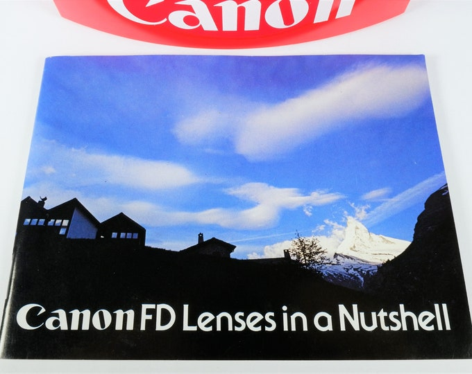 Canon FD Lenses in a Nutshell Brochure / Catalog - Near Mint Condition - Perfect Vintage Collectible - 59 Pages - English Edition / F-1 SLR