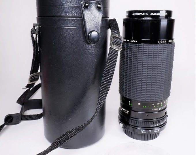 Sigma Canon FD Mount 80-200 mm f3.5 High-Speed Zoom, Multi-Coated Lens w/ Original Sigma Case & Macro Lens - Tested - Digital Adaptable