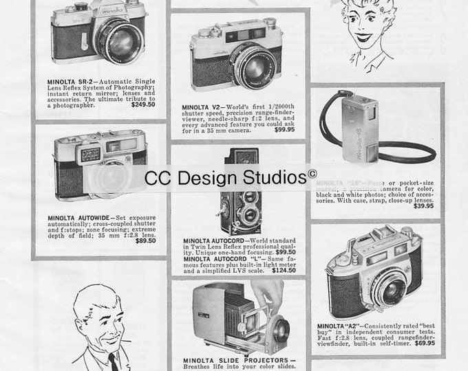 Vintage Minolta Magazine Advertisement 1960 - Collectible Film Photography Ad - Twin-Lens Reflex Camera, 35 mm - Approx. 11 x 8 inches
