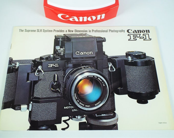 Rare Early Edition Canon F-1 Sales Brochure - The Supreme SLR System Provides a New Dimension in Professional Photography - 1970 - 18 Pages