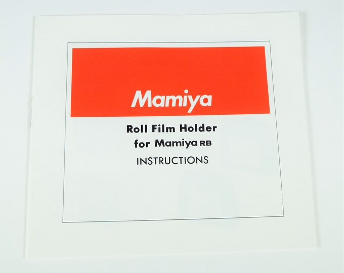 Mamiya RB67 Professional Roll Film Holder for Mamiya RB Instruction Book - 14 Pages - English Edition - Mint Condition - Free USA Shipping!