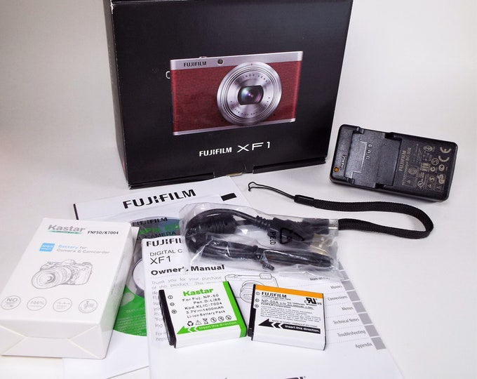 Fujifilm FinePix XF1 Digital Camera *Empty Box* - Includes Owner's Manual, Strap, (2) Rechargeable Batteries, Charger, Cords, CD