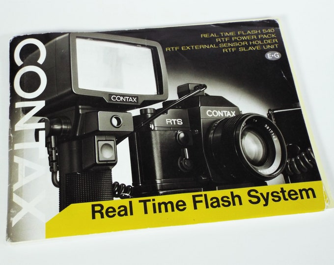 Vintage Original 1977 Contax RTS Real Time Flash System 540 Instruction Booklet, Includes Flash Accessories, English/German - Good Condition