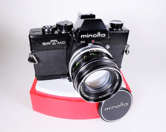 Vintage Pro-Black Body Minolta SR-T MC 35mm Film Camera with Rokkor-PF 55mm f/1.7 Lens and Minolta Metal Lens Cap