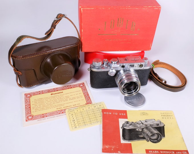 Tower (Nicca) Type-3 35mm Camera Set with Box - Nikkor H.C f2 5cm Lens, Metal Lens Cap, Leather Case, Strap, Inst Book & Papers - Rare