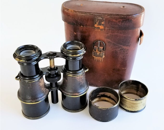 Antique c.1910 La Reine Paris Pre-War Binoculars with Original Leather Case and Sun Shades (Lens Hoods) - Clear and Sharp - Rare Model