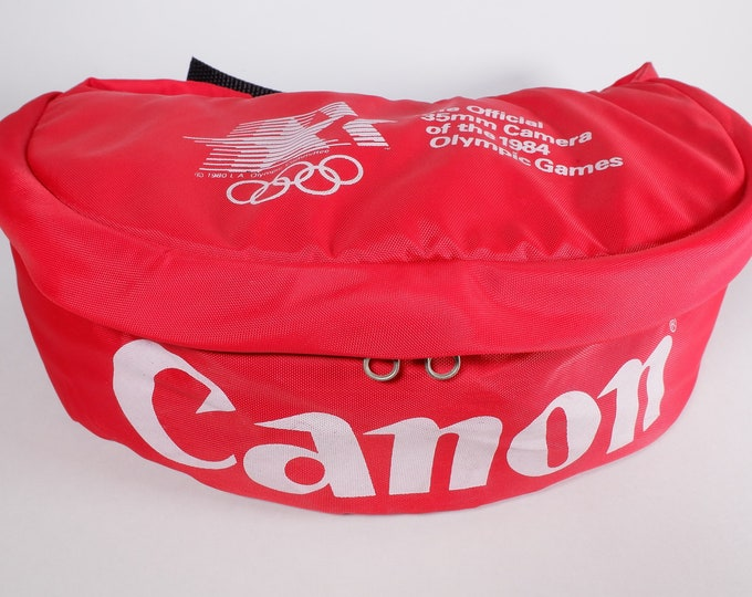 Vintage Canon 1984 LA Olympics Official 35mm Camera Bag, Fanny Pack - Summer Olympics - Athalon Sports Bag - Photo Gear Pack - Backpack