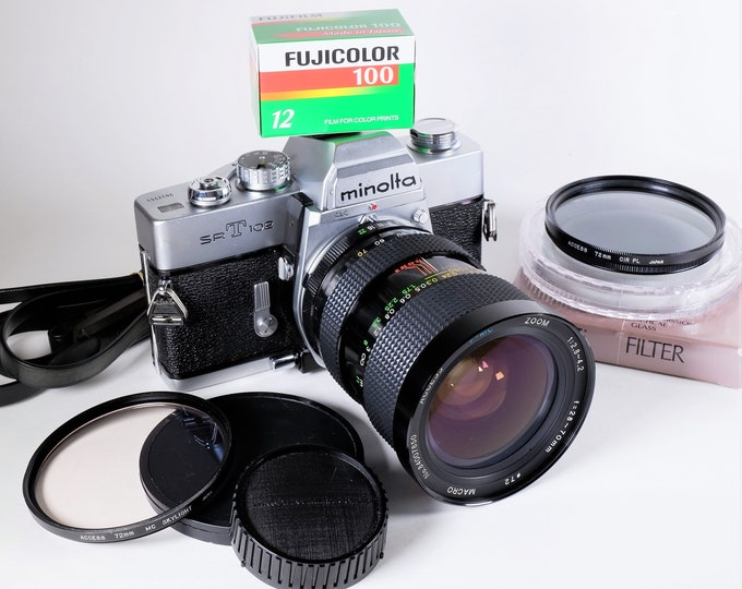 Minolta SRT 102 35mm SLR Film Camera with 28-70mm f2.8 Zoom Lens, 2 Filters - 100% Tested - Accurate Meter & Shutter - Free Fujicolor Film!