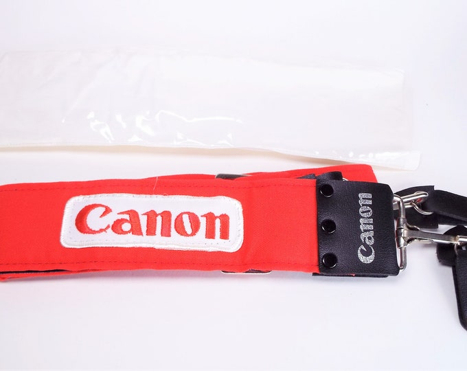 Rare Canon Red and White Logo Adjustable Strap - Mint New Condition - Genuine Canon Strap - Never Used, Brand New - Leather Strap Holders