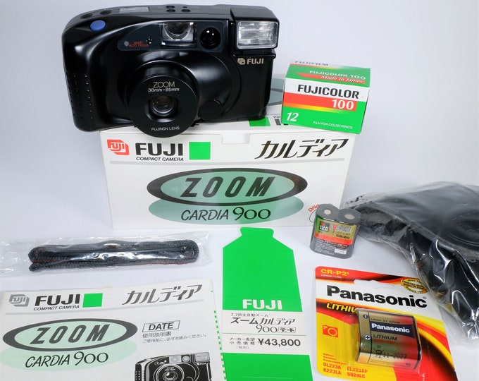 Fuji Zoom Cardia 900 Date 35mm Compact Camera Outfit - Mint in the Box - Fujinon Lens - Fujicolor Film, Batteries, Case, Books Included