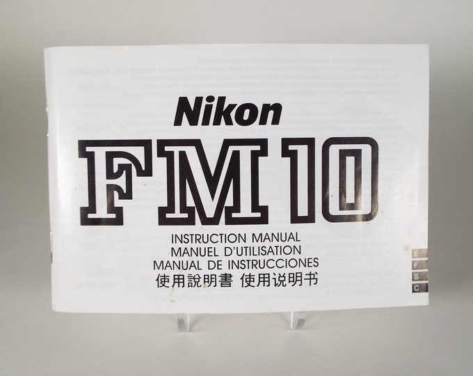 Nikon FM10 Instruction Manual - Genuine from Nikon - 35mm SLR Film Camera - 4 Languages - 115 Pages