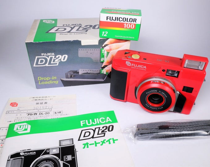 Fuji Fujica DL-20 Auto Mate 35mm Compact Film Camera - New in the Box - Fujinon 38mm Lens - Box, Strap, Book, Card, Fujicolor Film Included