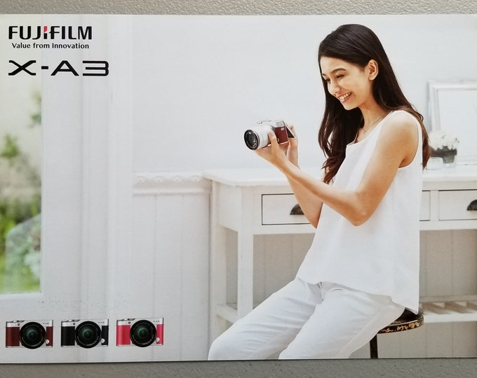 Fujifilm X-A3 Sales Brochure - Full Color Original - Digital Camera Japan - Large 8.5 x 11.5 inch Format - Excellent Condition - 7 Pages