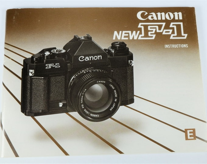 Canon New F-1 35mm SLR Film Camera Instruction Book - 1982 - Nearly Mint New - Perfect Collectible - 91 Pages - English Edition