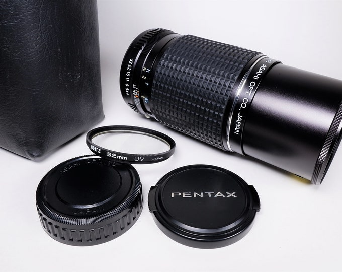 Asahi Pentax SMC Pentax-M f4 200mm Lens, Case, Pentax Front and Rear Caps, UV Filter, Book - Tested - Mint Condition - Digitally Adaptable