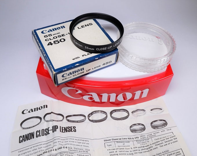Canon 55mm Close-Up Lens 450 - New Old Stock in Original Box - Perfect Mint Condition - For SLR Camera Lenses Both Film & Digital