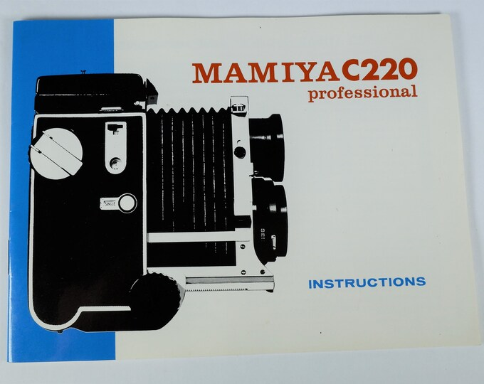 Mamiya C220 Professional TLR Instruction Book & Accessories Guide - 34 Pages - English Edition - Mint New Condition - Free USA Shipping