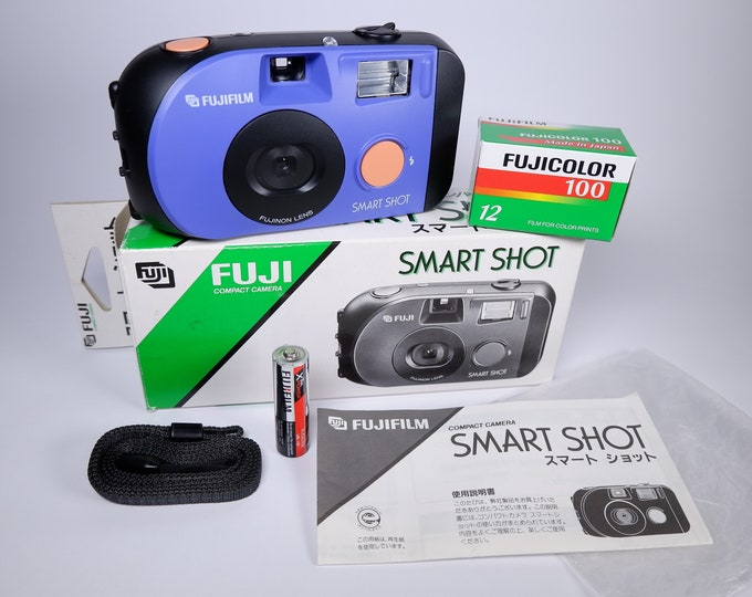 Fuji Light Blue Smart Shot 35mm Compact Film Camera Kit - New in the Box - Mint Condition - Free Fujicolor Film and Battery - HTF Blue Model