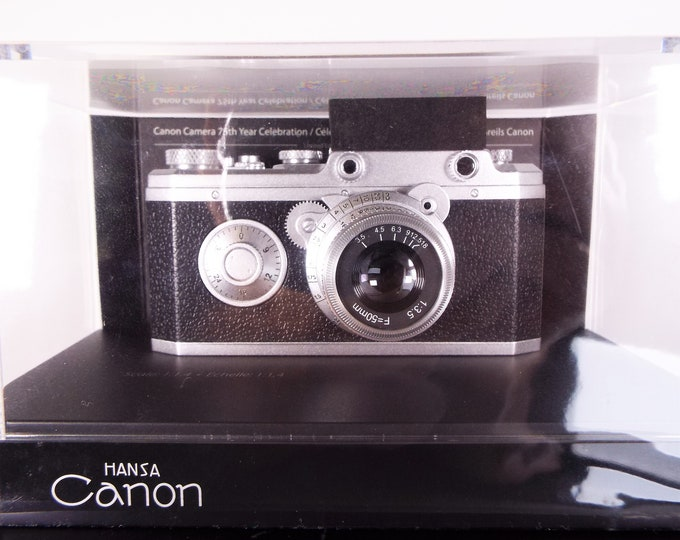 Canon Camera 75th Year Celebration Limited Edition Hansa Canon Model 35mm Rangefinder Camera - 1:1.4 Scale Display Model - Still New in Box