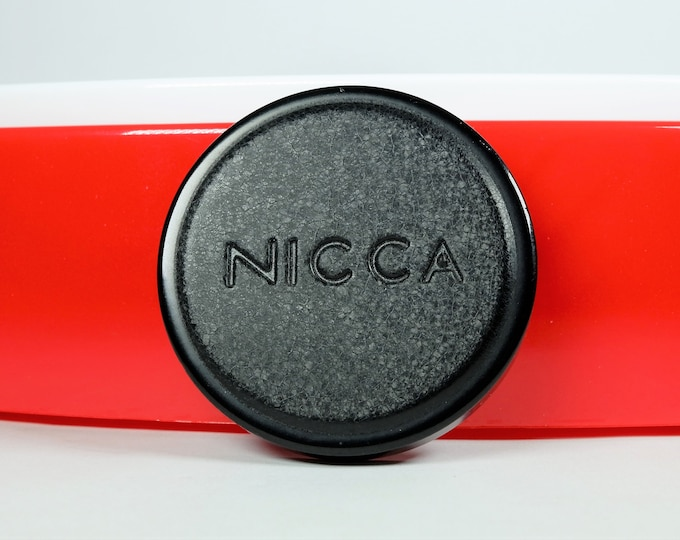 Rare Nicca Black Front Lens Cap for the Nicca III-L 35mm Rangefinder Camera and Nikkor-HC 5cm f/2 L39 Leica Lens Mount - 1958 - Brass