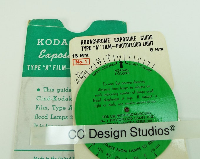 Vintage 1950's Eastman Kodak Kodachrome Exposure Guide for Movie Photography - Original & Genuine - Excellent Condition - Free Shipping!*