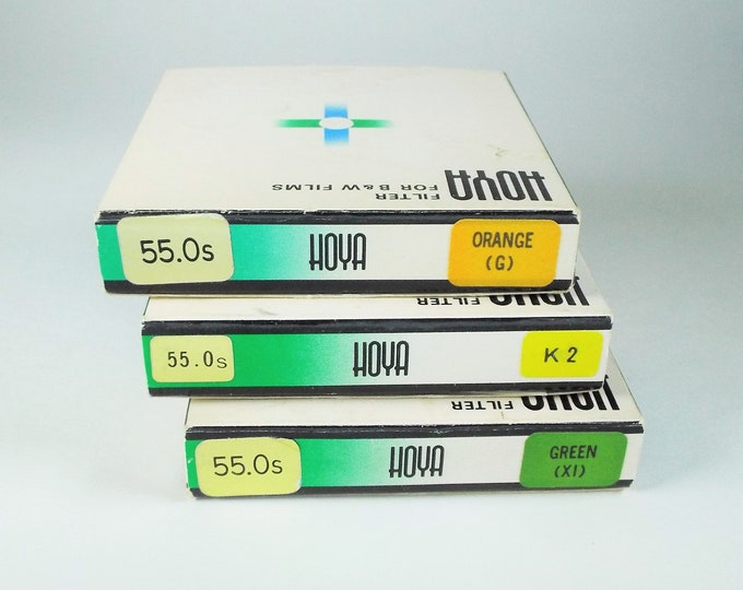 Vintage Hoya 55mm Orange, Yellow, Green Metal & Glass Screw-in Filters w/ Original Boxes, Cases, and Instructions - Near Mint Condition