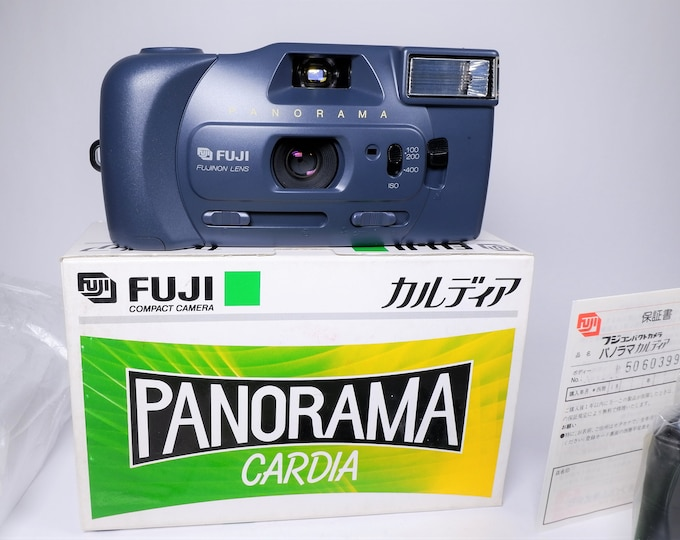 Fuji Panorama Cardia 35mm Compact Camera - Mint New in the Box - Fujinon 28mm Focus Free Lens - Original Box, Batteries, Papers Included