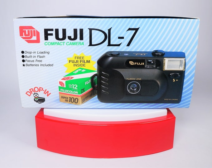 Fuji DL-7 35mm Compact Film Camera Outfit - New in the Box - Fujinon 35mm Lens - Fujicolor Super HR 100 Film Included - Strap - Batteries