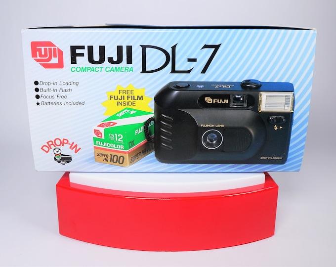 Fuji DL-7 35mm Compact Film Camera Outfit - New in the Box - Fujinon 35mm Lens - Fujicolor Super HR 100 Film Included - Strap - Batteries