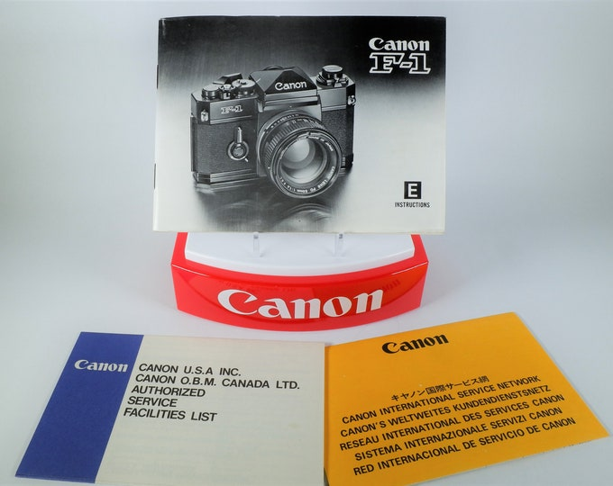 Canon F-1 35mm SLR Camera Instruction Book & Service Books - Excellent Condition - Perfect Collectible - 59 Pages - English Edition 1978