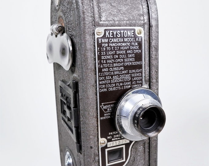 Keystone 8mm Movie Camera Model K-8 - Vintage 1936 - Motor Winds and Runs & Film Advances - Changeable Lens with Rare Filter - Super Clean!