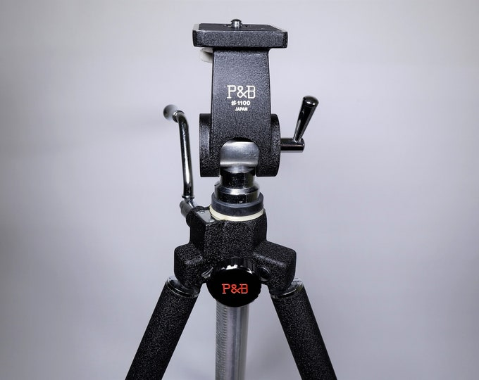 Vintage P & B (Ponder and Best) Model 1100 Elevator Tripod with Deluxe Pan Head - Lightweight Aluminum - Black and Silver - Mint Condition