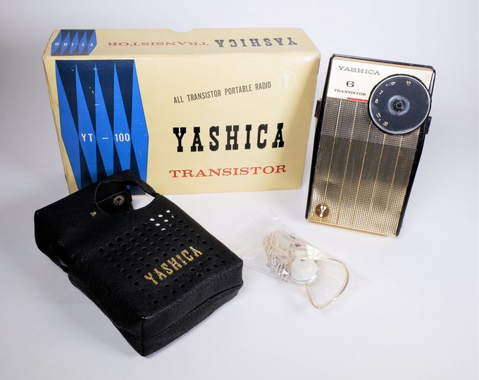 Vintage Yashica YT-100 Portable Transistor Radio in its Original Box, Leather Case, Earphone - Fully Working - Made in Japan 1959 - Rare