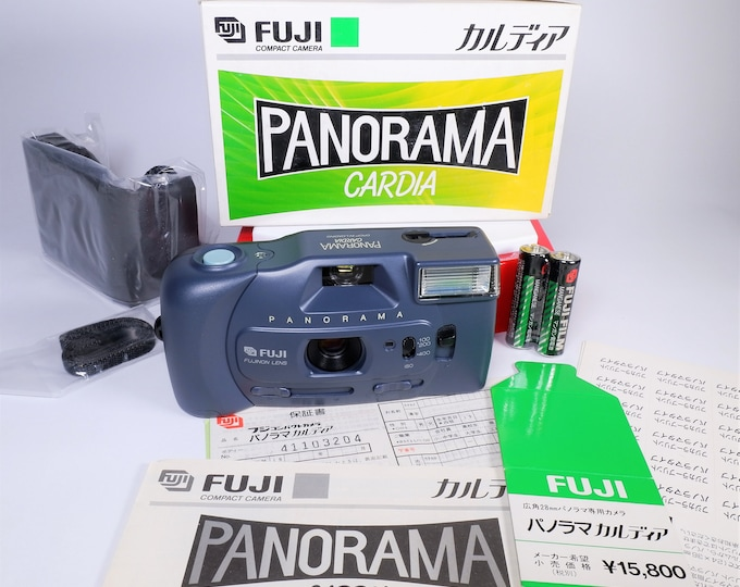 Fuji Panorama Cardia 35mm Compact Camera - Mint New with Box - Fujinon 28mm Focus Free Lens - Original Box, Case, Batteries, Papers Included