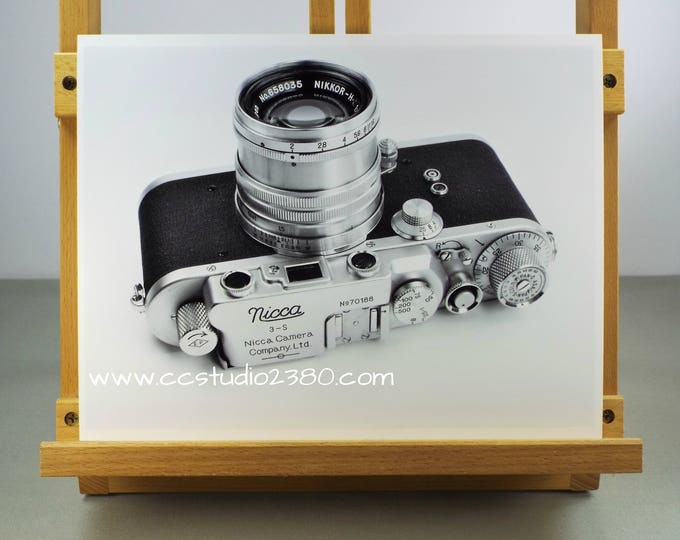 Rare 1950s Nicca Film Camera Fine Art Print - 8.5 x 11 in - Unframed - Printed on Pro Quality Canon Semi-gloss Paper w/ Archival Inks B & W