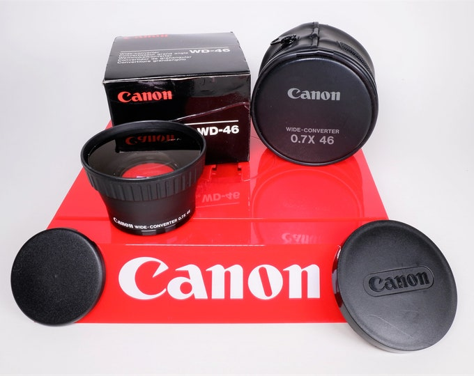 Canon Wide-Converter WD-46 Wide Angle Lens for Video Cameras with Canon Case, Canon Caps & the Original Box - Free USA Shipping!
